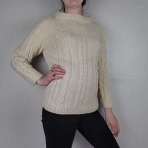 Cream wool cable knit mock neck sweater